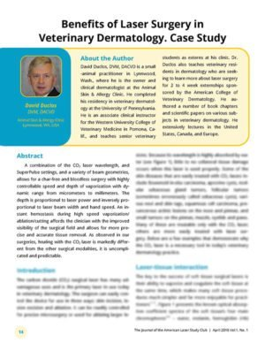 Benefits of Laser Surgery in Veterinary Dermatology. Case Study