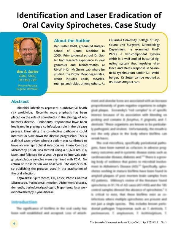 Identification and Laser Eradication of Oral Cavity Spirochetes. Case Study