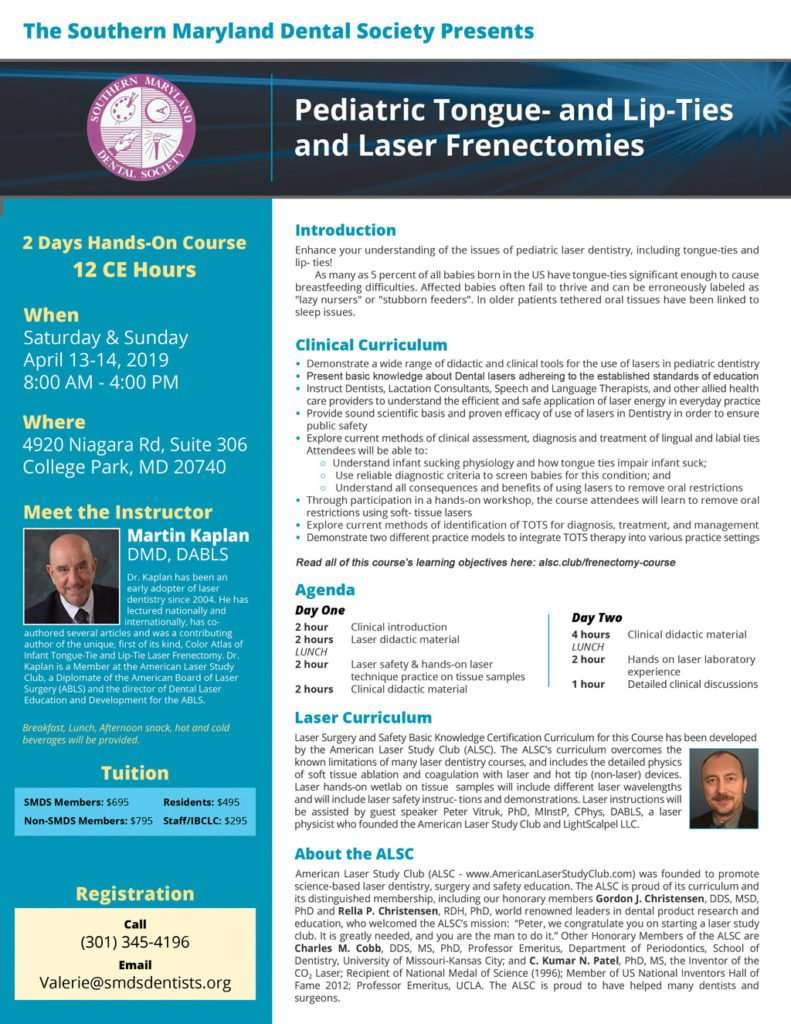 Pediatric Tongue- and Lip-Ties and Laser Frenectomies Course Flyer