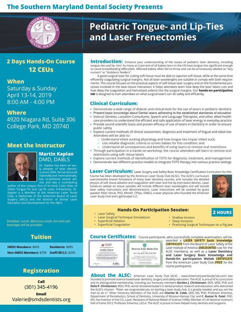 Pediatric Tongue- and Lip-Ties and Laser Frenectomies april 2019