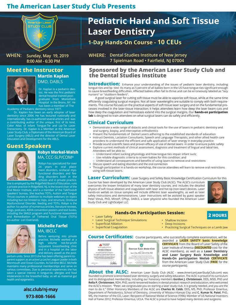 Pediatric Hard and Soft Tissue Laser Dentistry Course Flyer