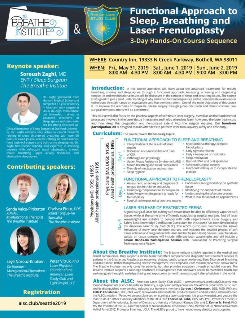 Functional Approach to Sleep, Breathing and Laser Frenuloplasty Course Flyer